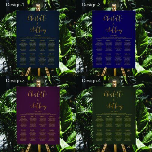 Personnalisé Noir thème de couleur or texte mariage Seating Table graphiqueA1 A2 A3