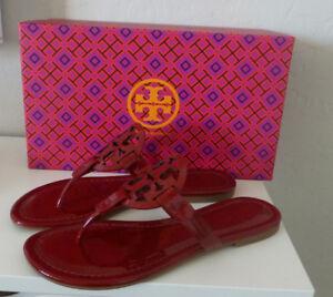b321640812086 NIB Tory Burch Miller Sandal Dark Red Stone Size 5.5 New In Box ...