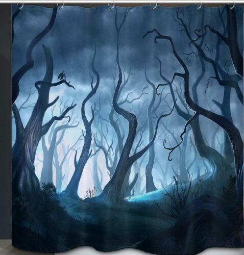 Árboles forestales espeluznante aterrador Baño Cortina de ducha Ganchos de poliéster
