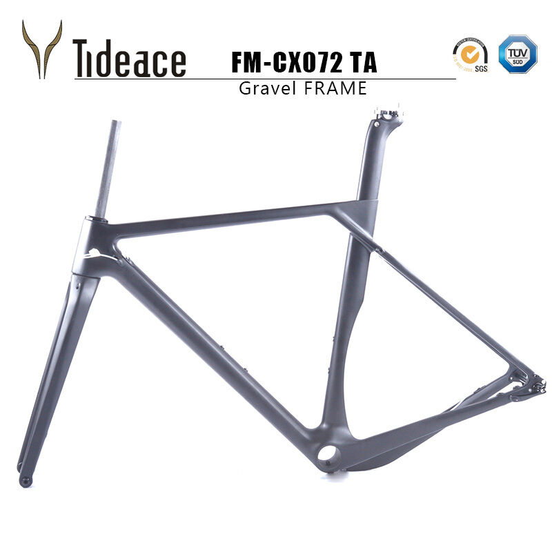 59cm Cyclocross Carbon Fiber Gravel Road Racing Bicycle Frame Thru Axle Matte