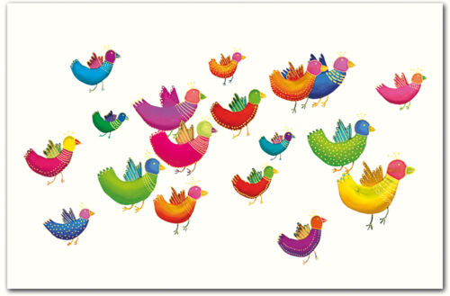 10 Grußkarten ohne Text Vögel Enten Naturkarton Klappkarten Umschläge A 990-1659
