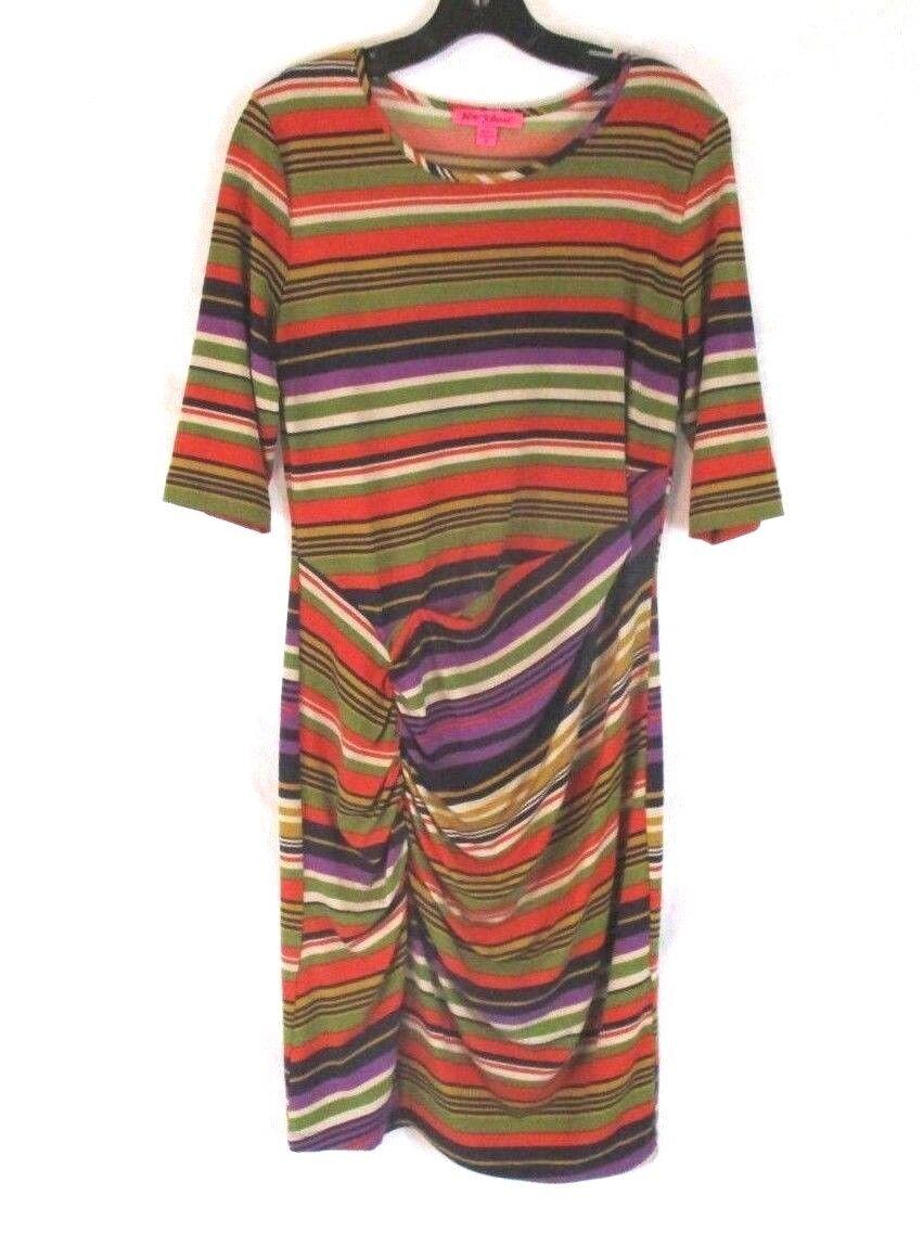 Betsey Johnson Womens Sheath Ruched Dress Sz 10 Stripes 3 4 Sleeve Stretch CB45O