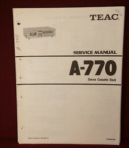 Details about Original TEAC Service Manual Stereo Cassette Deck Model A-770