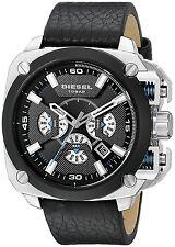 DIEZEL DZ7345 BAMF Silver Square Chronograph Black Leather Strap Men Watch 55MM
