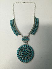 Navajo Native American Turquoise Cluster Necklace Juliana Willia Stunning Wow #6