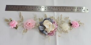 3D-Floral-Lace-Embroidery-Bridal-Applique-Beaded-Pearl-Tulle-Wedding-Vintage-D