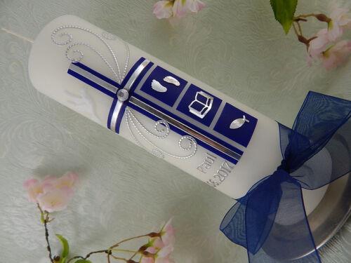 Taufkerze Kommunionkerze Kreuz dunkelblau silber mit Symbolen für Jungen