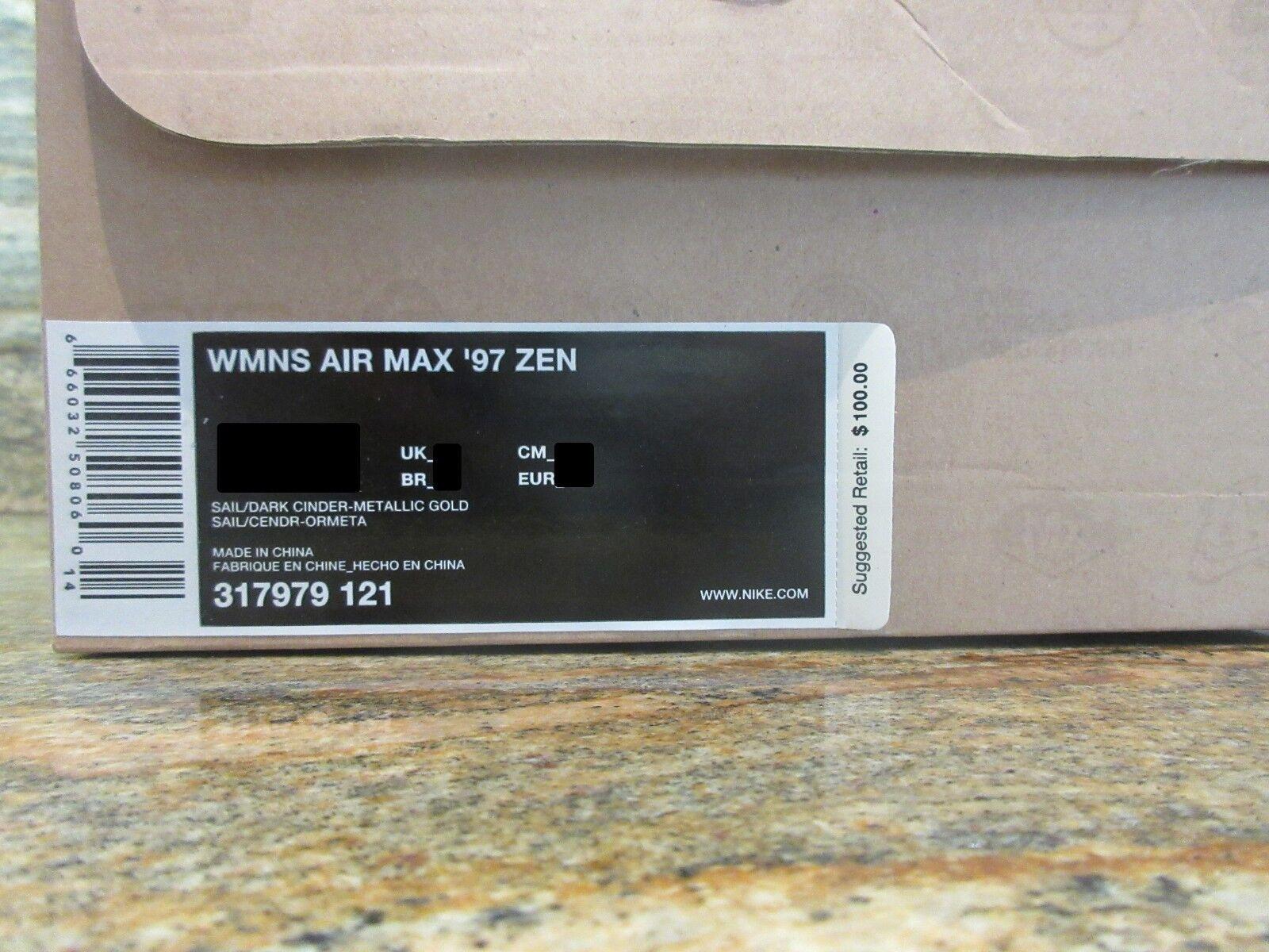2008 97 WMNS Nike Air Max 97 2008 Zen SZ 8.5 Wood Grain Sail Dark Cinder Gold 317979-121 c6b5bc