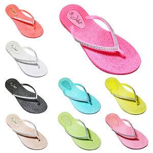 Damen Strass Badelatschen Zehentrenner Strandschuhe Slipper Schuhe Gr. 36-41 (37, Pink)