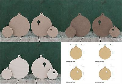H W x 35mm Wooden mdf Baubles Mini Bauble Christmas Craft Embellishments 30mm