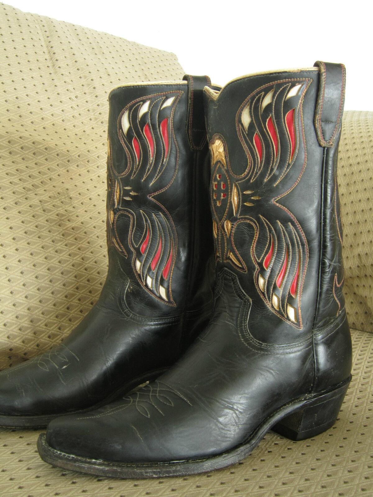 Famoso Vintage Acme American Eagle botas de vaquero    llamativa Embutido    Para Hombre 9.5 D