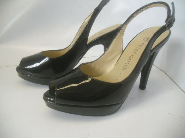 Neue Peter Kaiser Peep Toe Slingback Pumps in Schwarz 3,5 = 36 Lackleder Schwarz in 4f6347