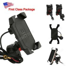 US Motorcycle Bike ATV Cell Phone GPS Handlebar Mirror Mount Holder USB Charger