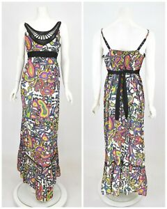 Womens-Desigual-Cotton-Maxi-Long-Dress-Multicolored-Abstract-Print-Size-42-UK14