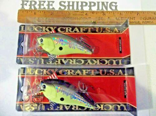 "LOT OF 2 Lucky Craft JAPAN Fat CB BDS4F 3/"" Floating 3//4Oz Crankbait MS CRACK B C"