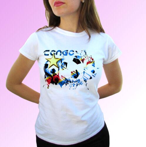 mens womens kids baby sizes white t shirt top design Congo football flag