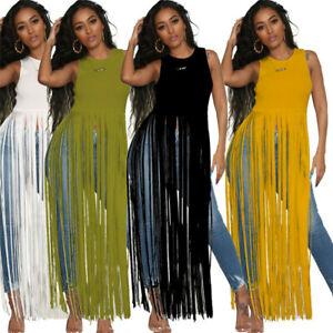 Women-Casual-Sleeveless-Tassel-Long-Tops-T-shirt-Dress-Solid-Color-Clubwear