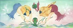MERMAID MERCHILD NAUTICAL OCTOPUS CHERUB CHEEKY CUTE CHILDREN OCEAN SEA PAINTING