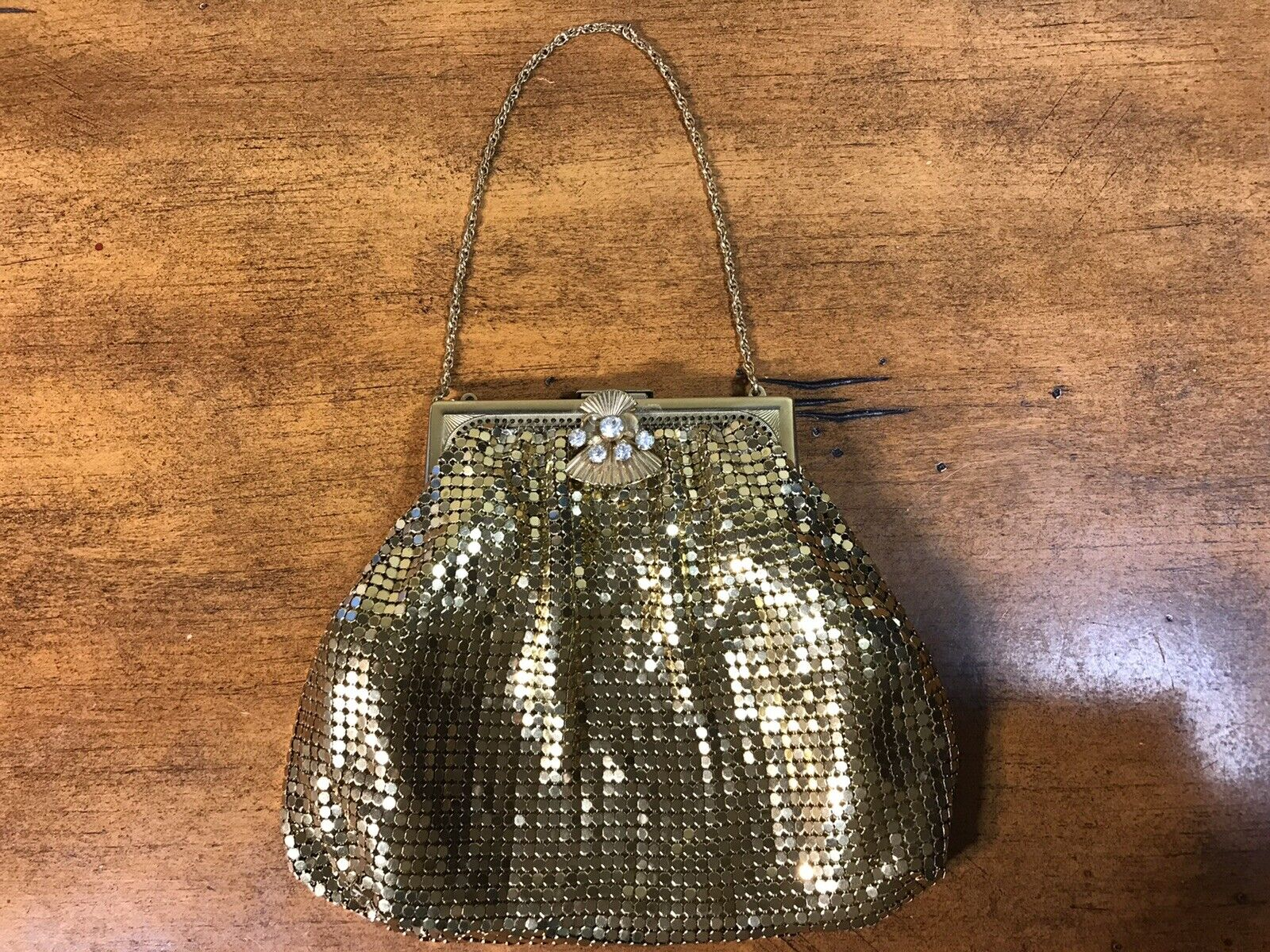 Vintage Gold Metal Mesh Cocktail Purse Clutch W/ Jeweled Clasp