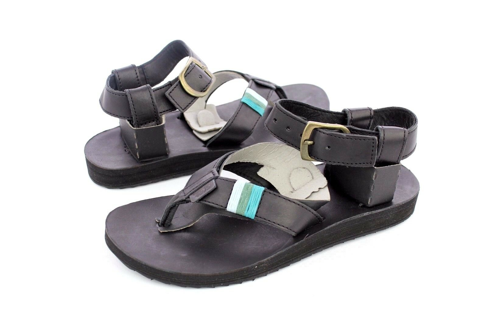 TEVA ORIGINAL SANDALS CRAFTED LEATHER BLACK WOMENS SANDALS SIZE 6 US