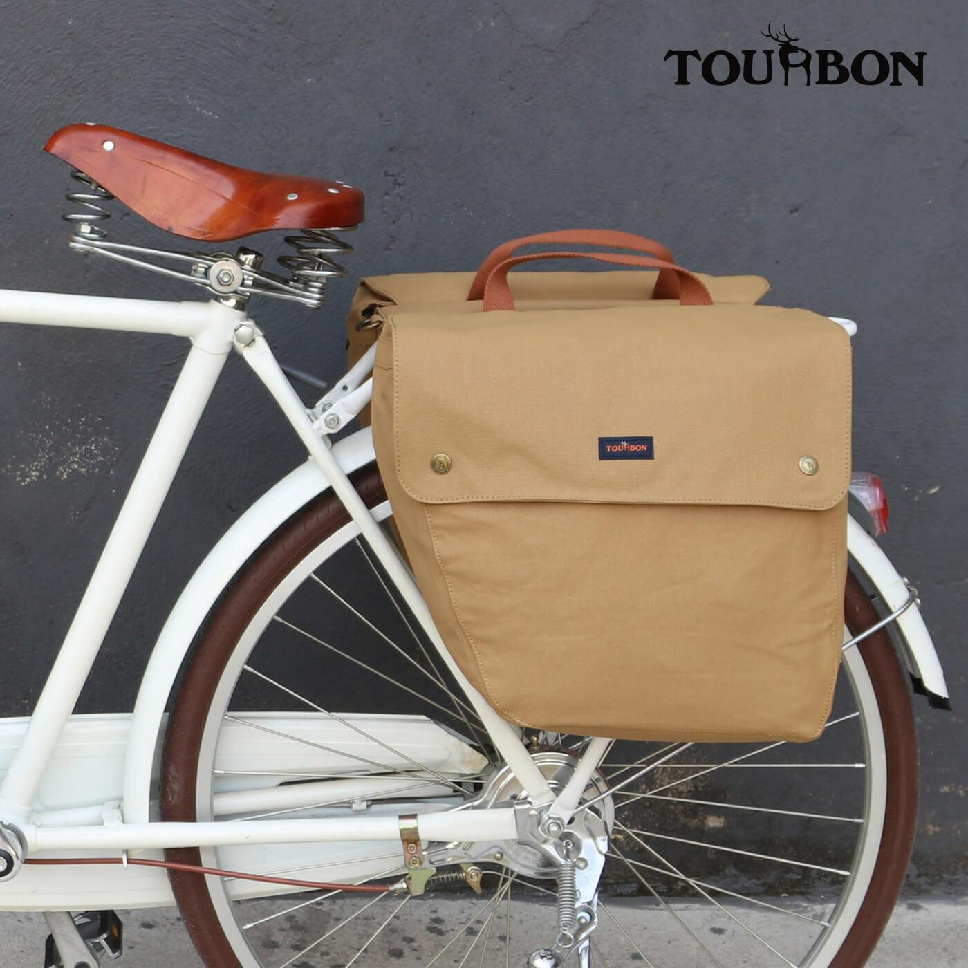 Tourbon Alforjas bicicleta con correa para hombro ajustable Asiento Posterior Bicicleta Rack bolsa