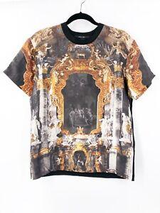 KSUBI-Men-039-s-Baroque-Art-Church-Graphic-Black-Tee-T-Shirt-Silk-Size-Small