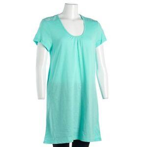 DEARFOAMS-S-NWT-34-Aqua-Blue-Lace-Inset-Night-Sleep-Shirt-S-S-Nightgown
