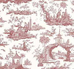 Wallpaper-Designer-Van-Luit-Red-Asian-Toile-on-Eggshell-White