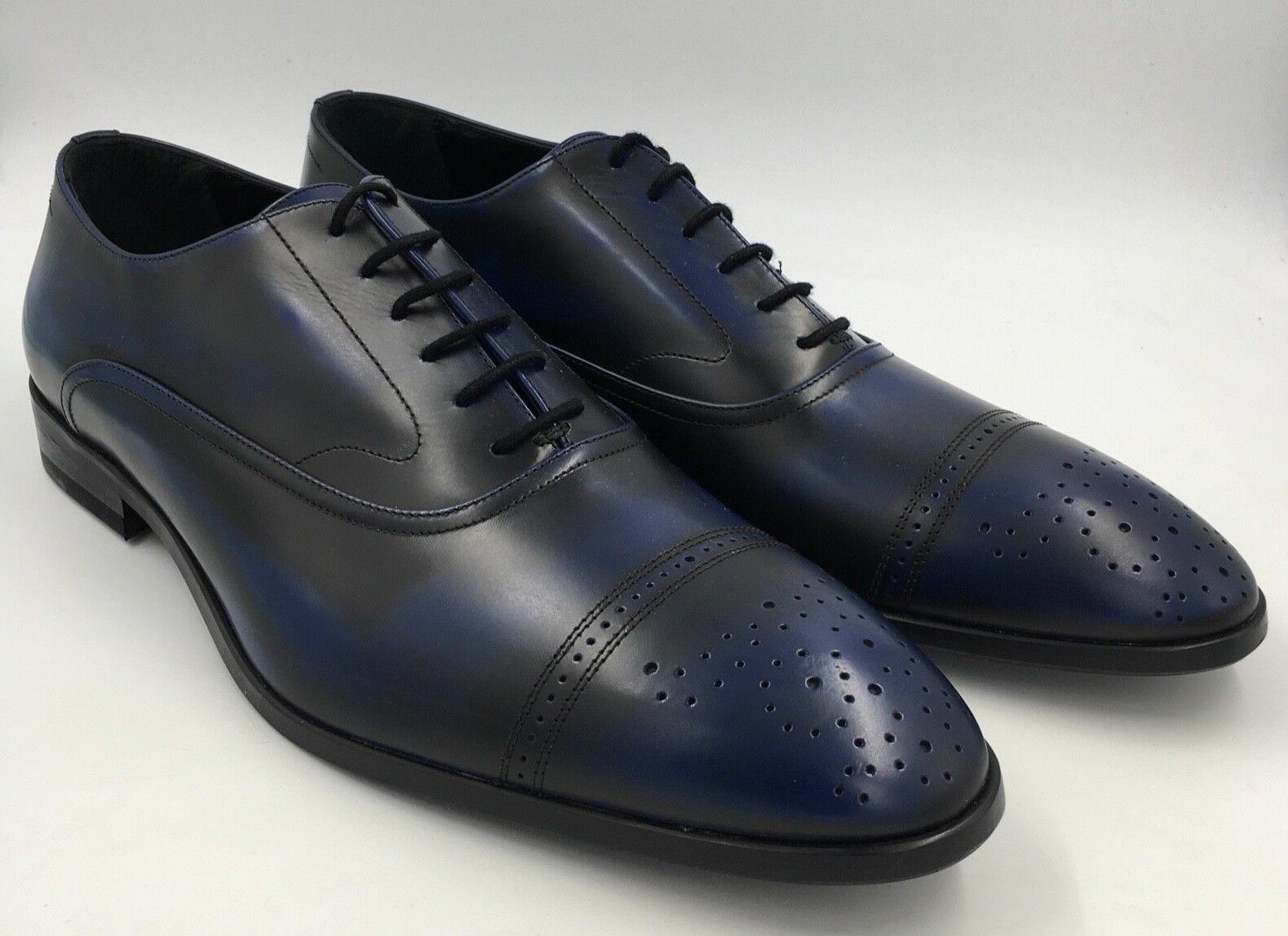 HEMSTED & SONS  Herren DERBY NAVY Schuhe Blau OXFORD BROGUE Schuhe NAVY UK 9.5 SIZE 44 M0087 c7a366
