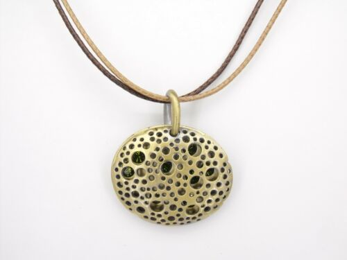 Oval Shaped Pendant Necklace Charm Austrian Crystal Green Jewelry Retro Brass T