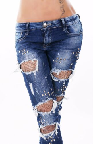 Pantaloni Brandelli Donna Skinny Borchie Originale Anca Risse Destroyed Jeans CxwwAYq7