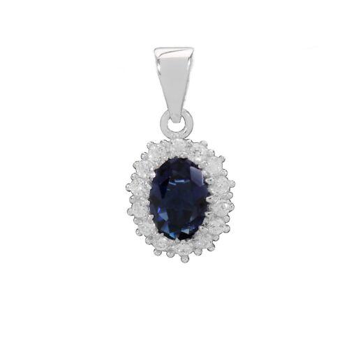 Anhänger Zirkonia Saphir-Blau mit//ohne Kette 925 Silber Damen//Kinder Collier