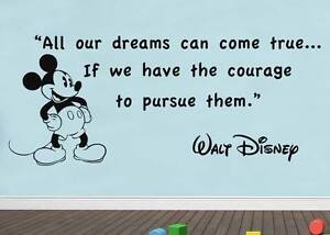 All Our Dreams Walt Disney Quote Decal Wall Sticker Decor Art Mickey