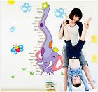 Removable Elephant Wall Sticker Height Ruler Nursery Kids Baby Room Mural Decor