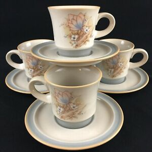 Set-of-4-VTG-Cups-and-Saucers-by-Noritake-Autumn-Day-Stoneware-8353-Japan
