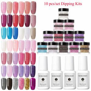 10Pcs-Set-NICOLE-DIARY-Sparkling-Dipping-Powder-Nail-Brush-No-UV-LED-Starter-Kit