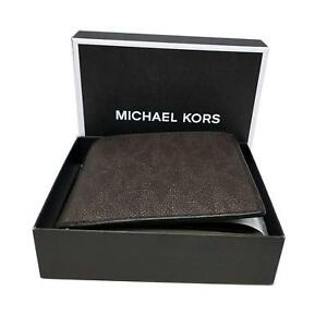 b60e52b14b15 Michael Kors Mens Brown MK Leather Jet Set Coin Pocket Bifold Wallet ...