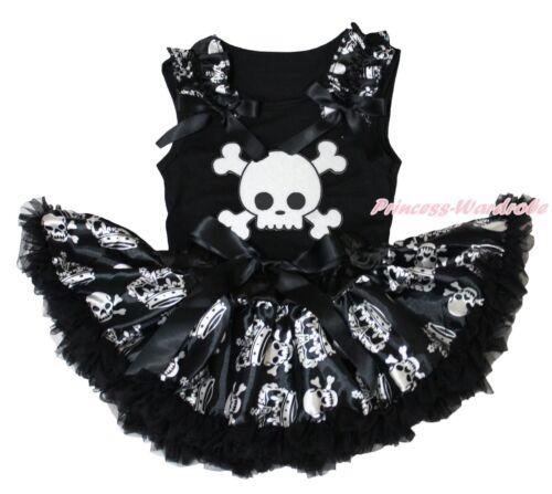 White Skull Halloween Black Top Shirt Crown Skull Girls Baby Skirt Set 3-12Month