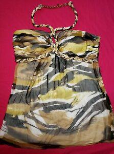 Cache-Gold-Mettalic-Woven-Halter-Brocade-Print-Silk-Babydoll-Blouse-Top-M