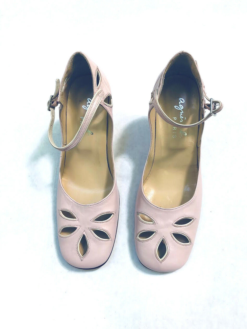 Pretty NWB Agnes B Paris pale Rosa leather heels Größe 37  Größe 6 -6.5 M