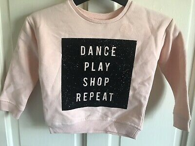 Girls BNWOT River Island Pink /'Dance Play Shop Repeat/' Jumper Age 2-4 Years