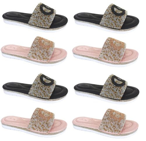 WOMENS DIAMANTE FLAT BEACH HOLIDAY SUMMER SLIDERS LADIES SANDALS SHOES SIZE 3-8