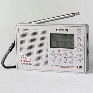 PL-505-DIGITAL-DSP-FM-MW-LW-SW-AM-SHORTWAVE-TECSUN-PL505-PORTABLE-RADIO-SILVER