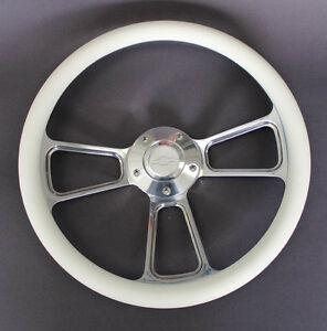 Chevelle-Nova-Camaro-Impala-14-034-Steering-Wheel-White-Billet-Chevy-Bowtie-Cap