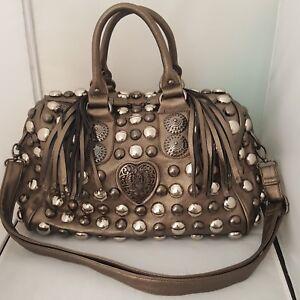 Studded-Embellished-Purse-Handbag-Metal-Button-Covered-Fringed-Zipper-Pulls