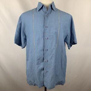 Cubavera-Mens-Blue-Pineapple-Embroidery-Cuban-Guayabera-Camp-Shirt-Sz-Medium