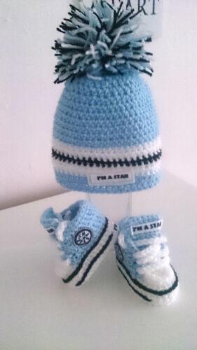Baby Crochet Handmade chaussures et chapeau Baskets Bottines Bottes Lacets Caps knitting