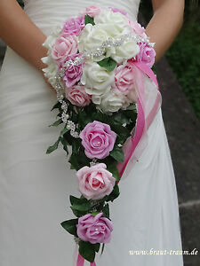 Bridal Bouquet Roses Cream Rosa Pink With Bling Wedding Bridal