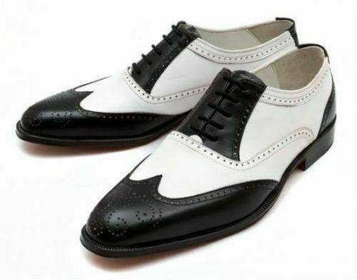 Handgefertigte Herren-Oxford-Schnürschuhe aus echtem schwarzem und weißem Leder