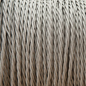 Elephant Grey Twisted Braided Fabric Cable 3-Core 0.5mm for lighting
